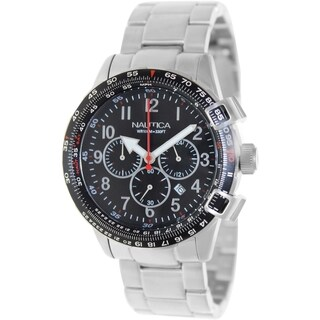 Nautica Men's Silvertone Stainless-Steel Bracelet Black Dial Watch