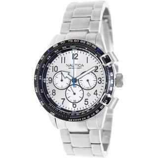 Nautica Men's Silvertone Stainless-Steel Bracelet Silvertone Dial Watch