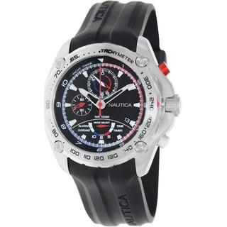 Nautica Men's Black Rubber Strap Black Dial Watch