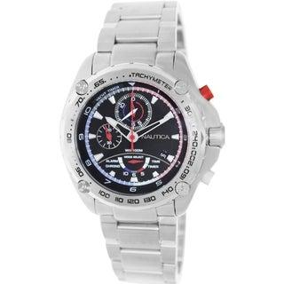Nautica Men's Silvertone Stainless Steel Bracelet Black Dial Watch