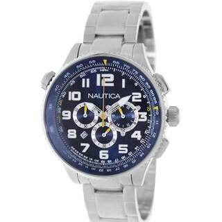 Nautica Men's Silvertone Stainless Steel Bracelet Blue Dial Watch