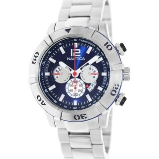 Nautica Men's Silvertone Stainless Steel Bracelet Blue Dial Watch