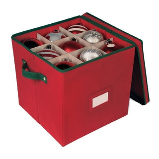 Holiday Red 64-cell Ornament Storage Box with Removable Lid