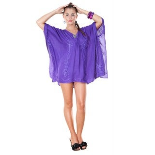 1 World Sarongs Women's Embroidered Purple Poncho Cover-Up (Indonesia)