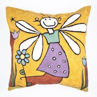 Handmade Girl Angle Multi-colored Throw Pillow Cover (India)