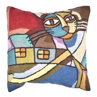 Handmade Cat Multicolor Throw Pillow (India)