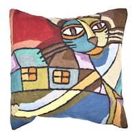 Handmade Cat Multi-colored Throw Pillow (India)