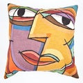 Dundee Design Multi-colored Face Throw Pillow Cover , Handmade in India