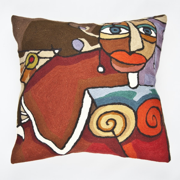 Handmade Red Multi colored Martini Throw Pillow Cover India
