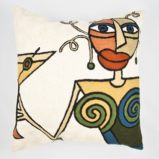 Handmade White Martini Multi-colored Throw Pillow Cover (India)