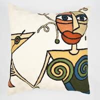 Handmade White Martini Multi-colored Throw Pillow Cover (India)