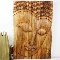 Hand-carved 36 x 24 Walnut Oiled 'Serene Buddha' Panel  , Handmade in Thailand