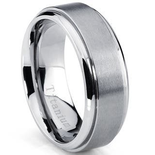 Oliveti Men's Beveled Edge Brushed Titanium Comfort Fit Band (8 mm)|https://ak1.ostkcdn.com/images/products/8608541/P15876738.jpg?impolicy=medium