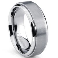 Oliveti Men's Beveled Edge Brushed Titanium Comfort Fit Band (8 mm)