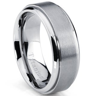 Oliveti Men's Beveled Edge Brushed Titanium Comfort Fit Band (8 mm) (More options available)