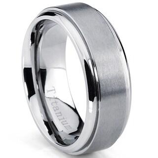 Oliveti Men's Beveled Edge Brushed Titanium Comfort Fit Band (8 mm)