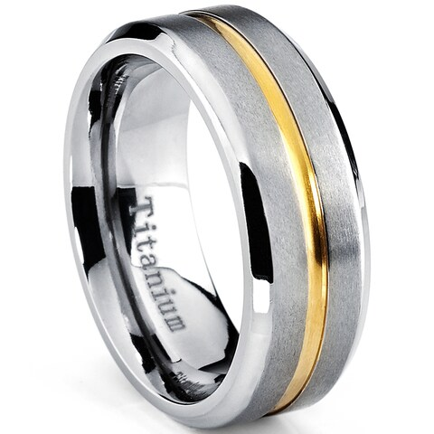 Oliveti Men's Brushed Titanium Beveled Edge and Grooved Gold Plated Center Comfort Fit Band (8mm) - Silver