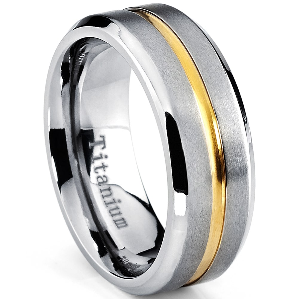 Tungsten 6.4mm Satin Center Polished Groove Edge Band Ring