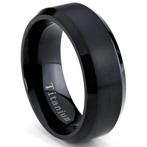 Oliveti Men's Black Plated Titanium Comfort Fit Band (8mm)