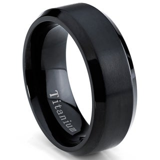 Oliveti Men's Black Plated Titanium Comfort Fit Band (8mm) (Option: 15)