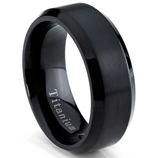 Oliveti Men's Black Plated Titanium Comfort Fit Band (8mm) (More options available)
