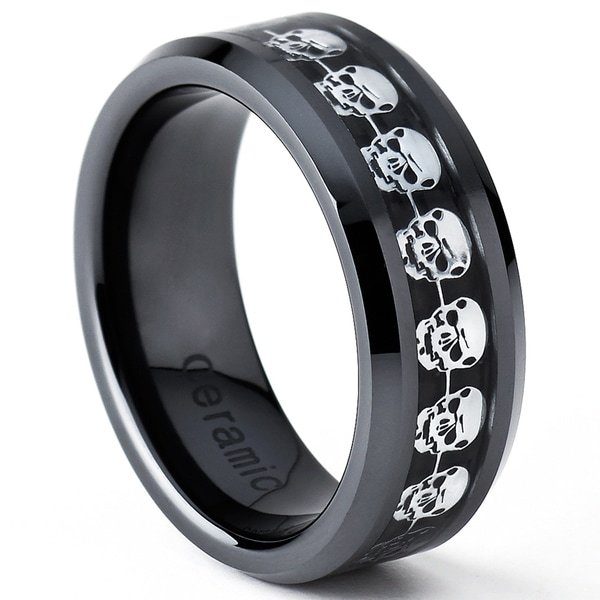 oliveti black ceramic mens carbon fiber inlay skull ring - Carbon Fiber Wedding Rings