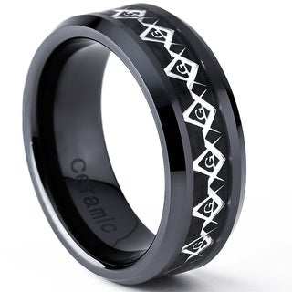 Oliveti Black Ceramic Men's Carbon Fiber Inlay Masonic Ring (8 mm)