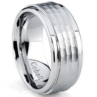 Oliveti Cobalt Men's Hammered Comfort Fit Band (9 mm)