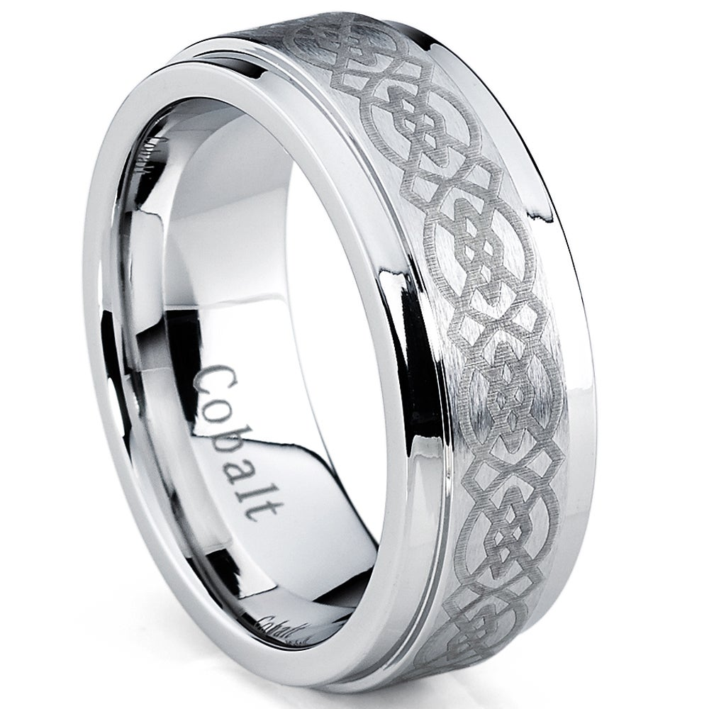 8MM Laser Etched Knot Tungsten Band Comfort Fit Wedding Band Ring