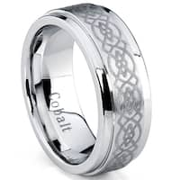 Oliveti Cobalt Men's Polished Celtic Design Comfort Fit Band (8 mm)
