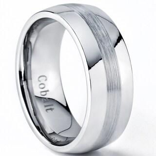 Oliveti Cobalt Men's Brushed Center Dome Comfort Fit Band (8 mm)