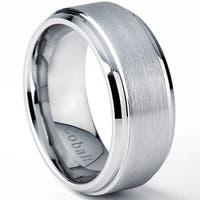 Oliveti Brushed Cobalt Men's Beveled Edges Comfort Fit Band (8 mm) - Silver