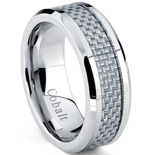 Oliveti Cobalt Men's White Carbon Fiber Inlay Comfort Fit Band (8 mm)