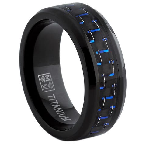 Oliveti Black Titanium Men's Black and Blue Carbon Fiber Comfort Fit Band (8mm)