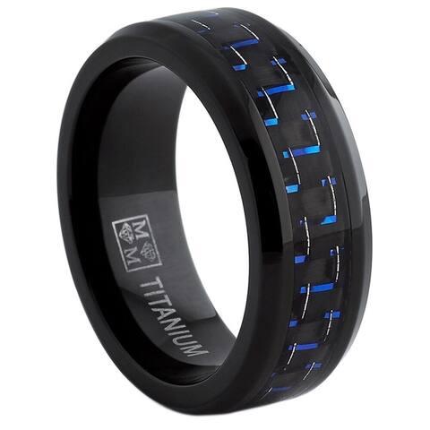 Oliveti Black Titanium Men's Black and Blue Carbon Fiber Comfort Fit Band (8mm)