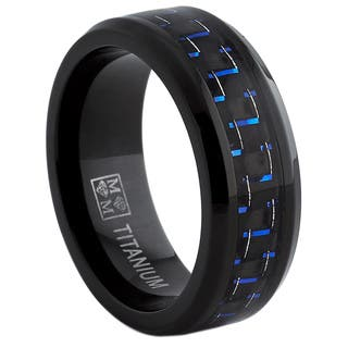 Oliveti Black Titanium Men's Black and Blue Carbon Fiber Comfort Fit Band (8mm)|https://ak1.ostkcdn.com/images/products/8608568/P15876763.jpg?impolicy=medium