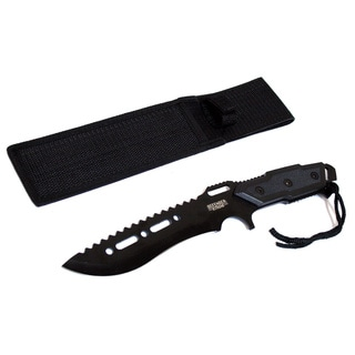 12-inch Black Combat-Ready Hunting Knife