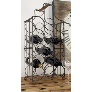 Farmhouse 26 Inch Gray Iron Cage 15-Bottle Wine Holder by Studio 350