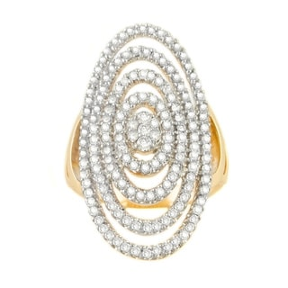 Beverly Hills Charm 14K Yellow Gold 1 2/5ct TDW Diamond Multi-row Oval Ring