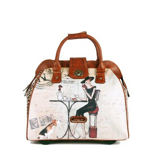 Nicole Lee Cheri 'Coffee' Carry On Rolling Upright Laptop Tote