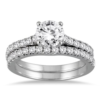 14k White Gold 1 3/8ct TDW Round Diamond Bridal Set