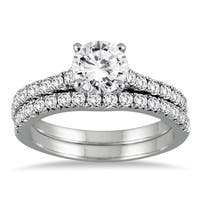 14k White Gold 1 3/8ct TDW Round Diamond Bridal Set
