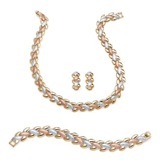 PalmBeach Interlocking Link 3-Piece Tri-Tone Necklace, Bracelet and Earrings Set in Gold, Rose & SIlvertones Tailored