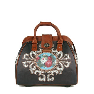 Nicole Lee Cheri 'Rose Pearl' Carry On Rolling Upright Laptop Tote