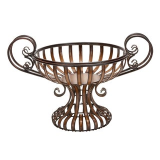 Decorative Metal Bowl with Elevated Base