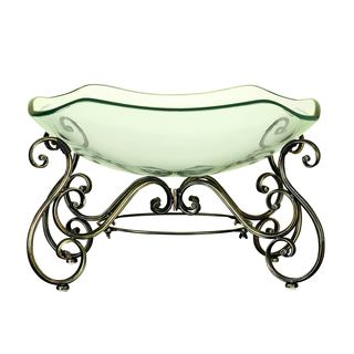 Elegant Decorative Glass Bowl with Metal Stand