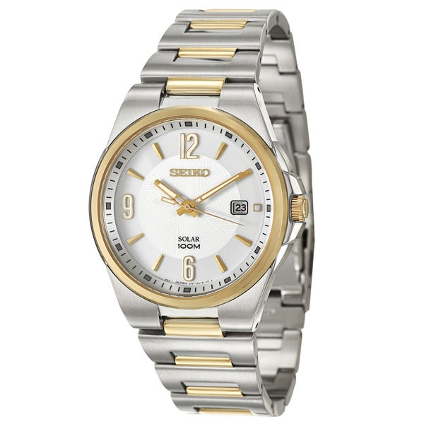 Seiko Men's 'Solar' Steel and Gold-Plated Solar-Powered Quartz Watch