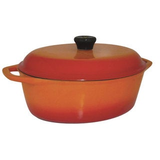 Le Cuistot Classic Enameled Cast Iron Orange Oval Dutch Oven