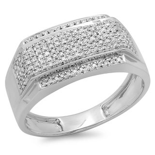 Elora Platinum-plated Sterling Silver 1/2ct TDW Diamond Pave Ring (I-J, I2-I3)