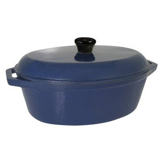 Le Cuistot Classic Enameled Cast Iron Blue Oval Dutch Oven